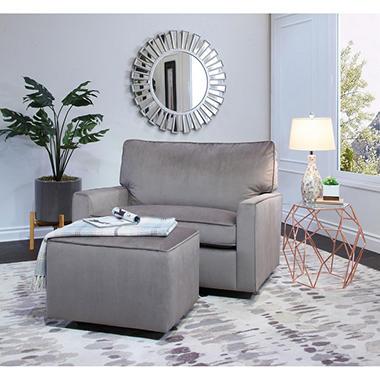 Larsa Oversized Velvet Glider Chair And Ottoman Gray