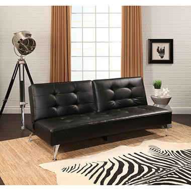 Beau Terry Leather Sofa Bed With Metal Legs (Assorted Colors)