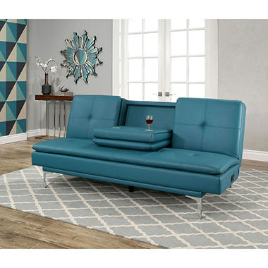Havana Bonded Leather Sofa Bed With Console, Turquoise