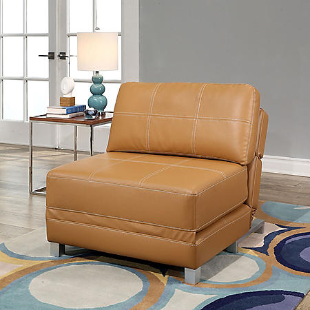 Harlow Leather Convertible Futon Chair (Assorted Colors)
