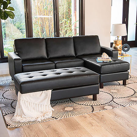 Brayden Tufted Leather Reversible Sectional and Ottoman (Assorted Colors)
