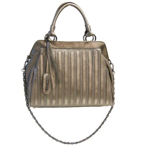 Fog by London Fog Margot Satchel - Pewter Pebble with Patent