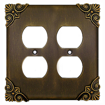 Corinthia Double Outlet in Antique Brass
