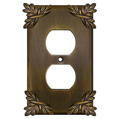 Sonnet Outlet Cover in Antique Brass