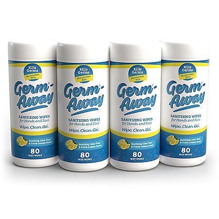 Germ-Away Antibacterial Hand Wipes (80 ct. each, 4 pk.)