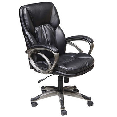 True Seating Black Bonded Leather Executive Chair