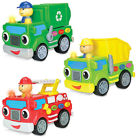Learning Journey On the Go Vehicles 3-Piece Set: Fire Truck, Dump Truck and Recycle Truck