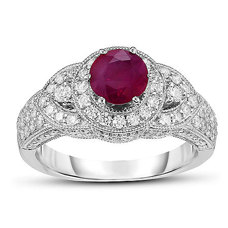 0.60 ct. Ruby and Diamond Ring in 14K White Gold