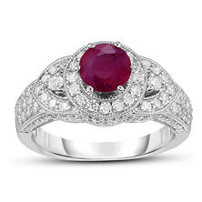 0.60 ct. Ruby and Diamond Ring in 18K White Gold