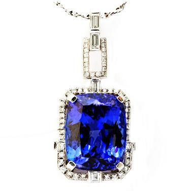 Cushion shaped tanzanite pendant with diamonds in 18k white gold cushion shaped tanzanite pendant with diamonds in 18k white gold aloadofball Gallery