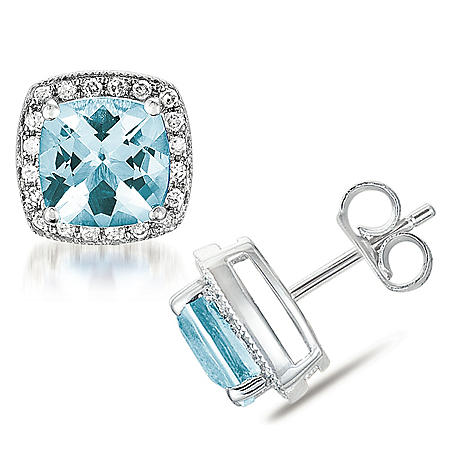 Cushion Shaped Aquamarine Earrings with Diamonds in 14K White Gold