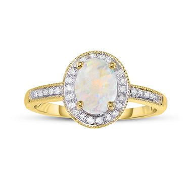 50 ct Opal and 15 ct t w Diamond Ring in 14K Yellow Gold