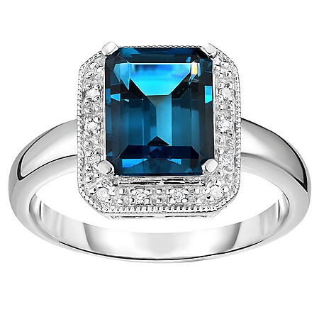 2.50 ct. London Blue Topaz & .08 ct. t.w. Diamond Ring 14K White Gold