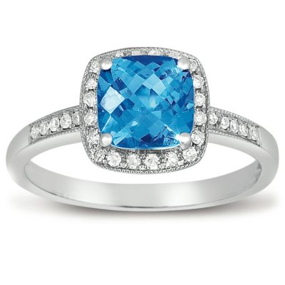 15 ct Blue Topaz and Diamond Ring in 14K White Gold Sams Club