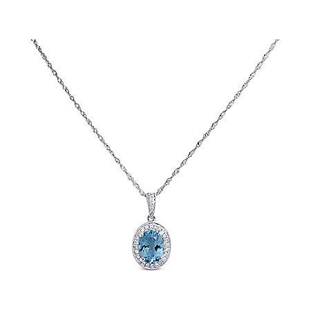 1.0 ct. Aquamarine & Diamond Pendant in 14K White Gold