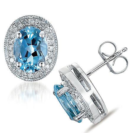 Aquamarine & Diamond Earrings in 14K White Gold