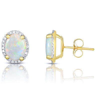 1.5 ct. t.w. Opal & .14 ct. t.w. Diamond Earrings in 14K Yellow Gold