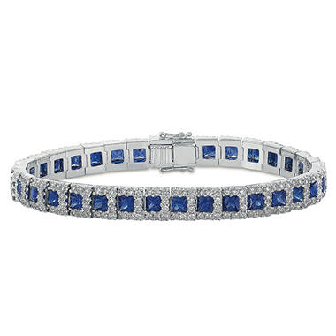 Princess Cut Sapphire Tennis Bracelet with 4 08 ct t w Diamonds