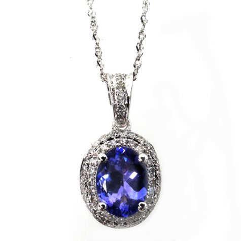 Oval Shaped Tanzanite with Diamond Pendant in 14K White Gold