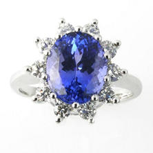 Oval Cut Tanzanite Ring with Diamonds in 14k White Gold