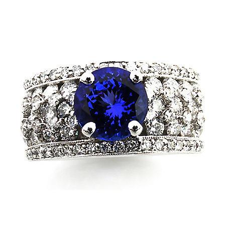Round Cut Tanzanite Ring with Diamonds in 18k White Gold