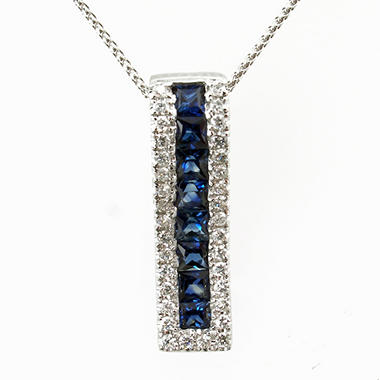 Princess-Cut Sapphire Pendant with Diamonds in 14k White Gold (G,I1)