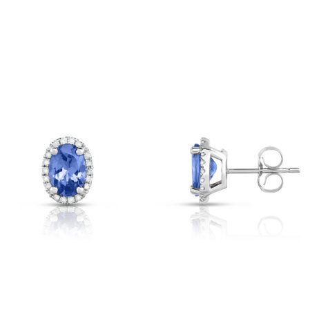 Oval Tanzanite Earrings with Diamonds in 14K White Gold