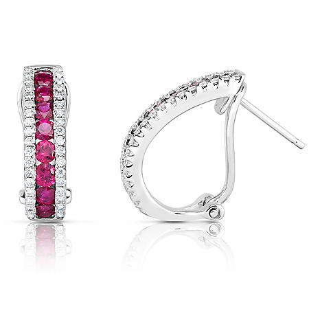 Square Ruby and Diamond Earring in 18 Karat White Gold