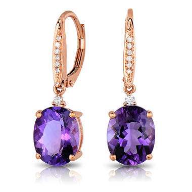Oval Cut Amethyst Earrings with Diamonds in 14K Rose Gold