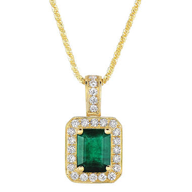 Emerald Pendant with Diamonds in 14K Yellow Gold