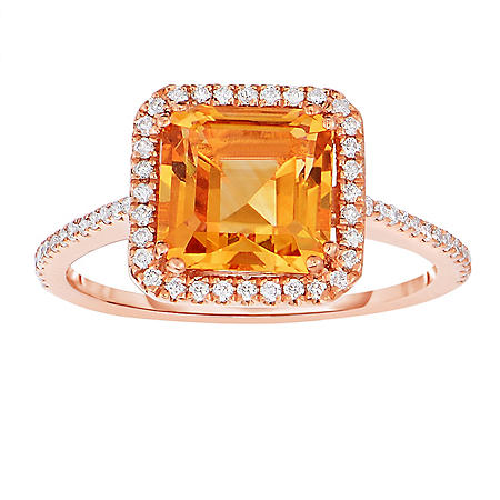 Cushion Shaped Citrine Ring with Diamonds in 14K Rose Gold
