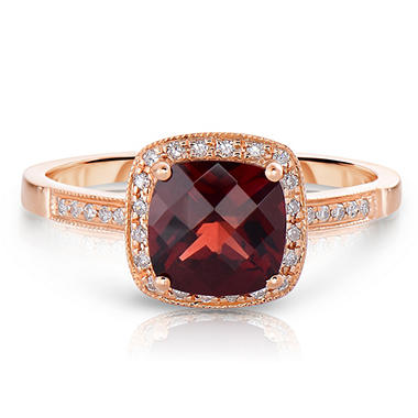 Cushion Shaped Garnet Ring with Diamonds in 14K Rose God