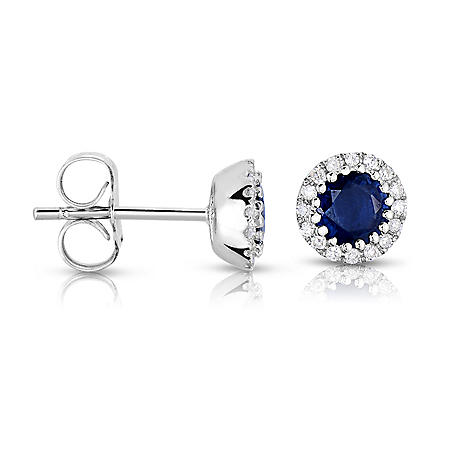 Round Shaped Sapphire Earrings with Diamonds in 14K White Gold
