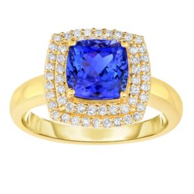 Cushion Cut Tanzanite Ring with Diamond Accents in 14K Yellow Gold
