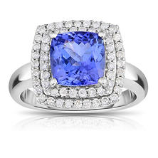 Cushion Shaped Tanzanite Ring with Diamonds in 14K White Gold