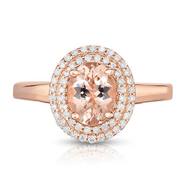 .80 CT. T.W. Oval Cut Treated Morganite and Diamond Ring in 14 Karat Rose Gold
