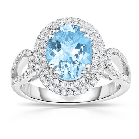 Oval Shaped Aquamarine Ring with Diamonds in 14K White Gold