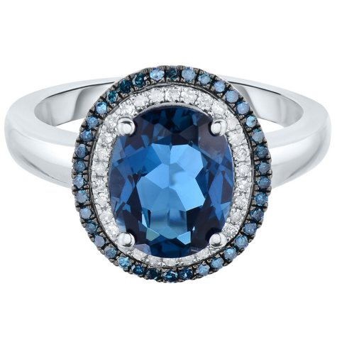 Oval London Blue Topaz and 0.30 CT. T.W. Diamond Ring in 14 Karat White Gold