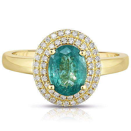 Oval Emerald Ring with Diamonds in 14 Karat Yellow Gold