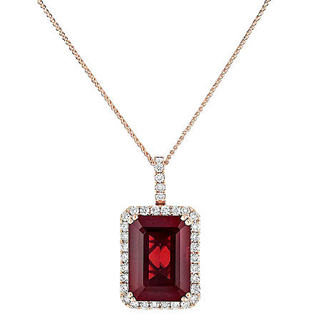 Emerald-Cut Garnet Pendant with Diamonds in 14K Rose Gold