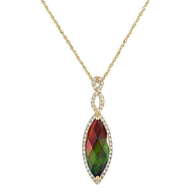 Marquis-Shaped Ammolite Pendant with Diamonds in 14K Yellow Gold
