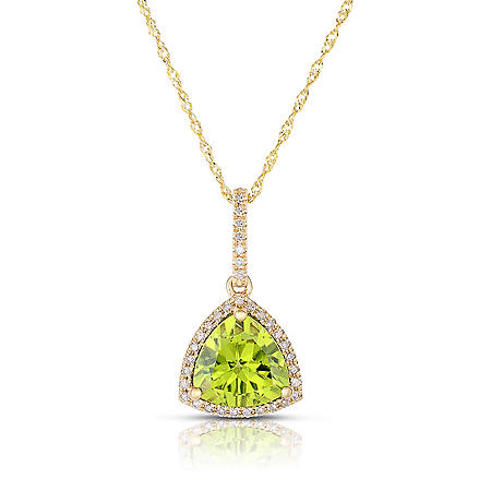 Trilliant-Shaped Peridot Pendant with Diamonds in 14K Yellow Gold