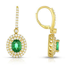 Oval Shaped Oiled 2.35 CT. T.W. Emerald Earring with 1.38 CT. T.W. Diamonds in 18K Yellow Gold