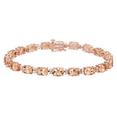 12 Carat T W Oval Cut Treated Morganite And Diamond Bracelet In 14