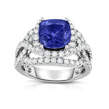 Cushion Cut Tanzanite and Diamond Ring in 18K White Gold