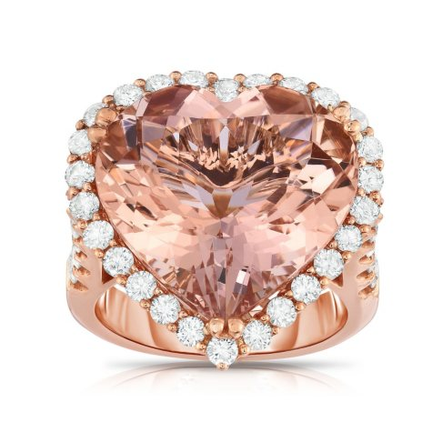 Heart Shape 14.47 CT. T.W. Morganite and 1.50 CT. T.W. Diamond Ring in 18K Rose Gold