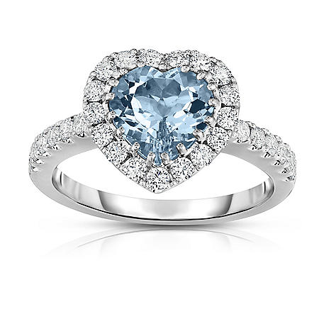 Heart Shaped 1.50 CT. T.W. Treated Aquamarine and 0.65 CT. T.W. Diamond Ring in 18K White Gold