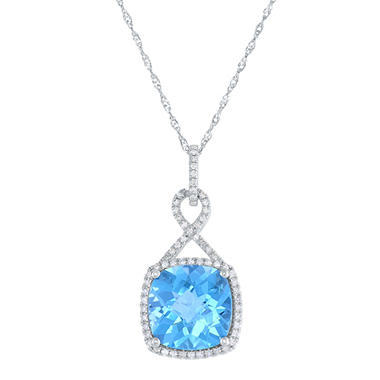 6 CT T.W. Cushion Cut Blue Topaz and Diamond Pendant in 14 Karat White Gold