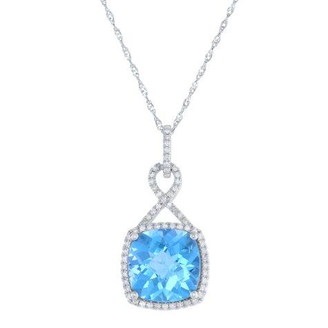 6 CT T.W. Cushion Cut Blue Topaz and Diamond Pendant in 14 Karat White Gold