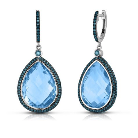 Pear-Shaped Blue Topaz and Diamond Earrings in 14K White Gold